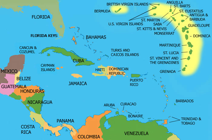 Map Of Caribbean Islands Holiday Planners - Caribbean islands map